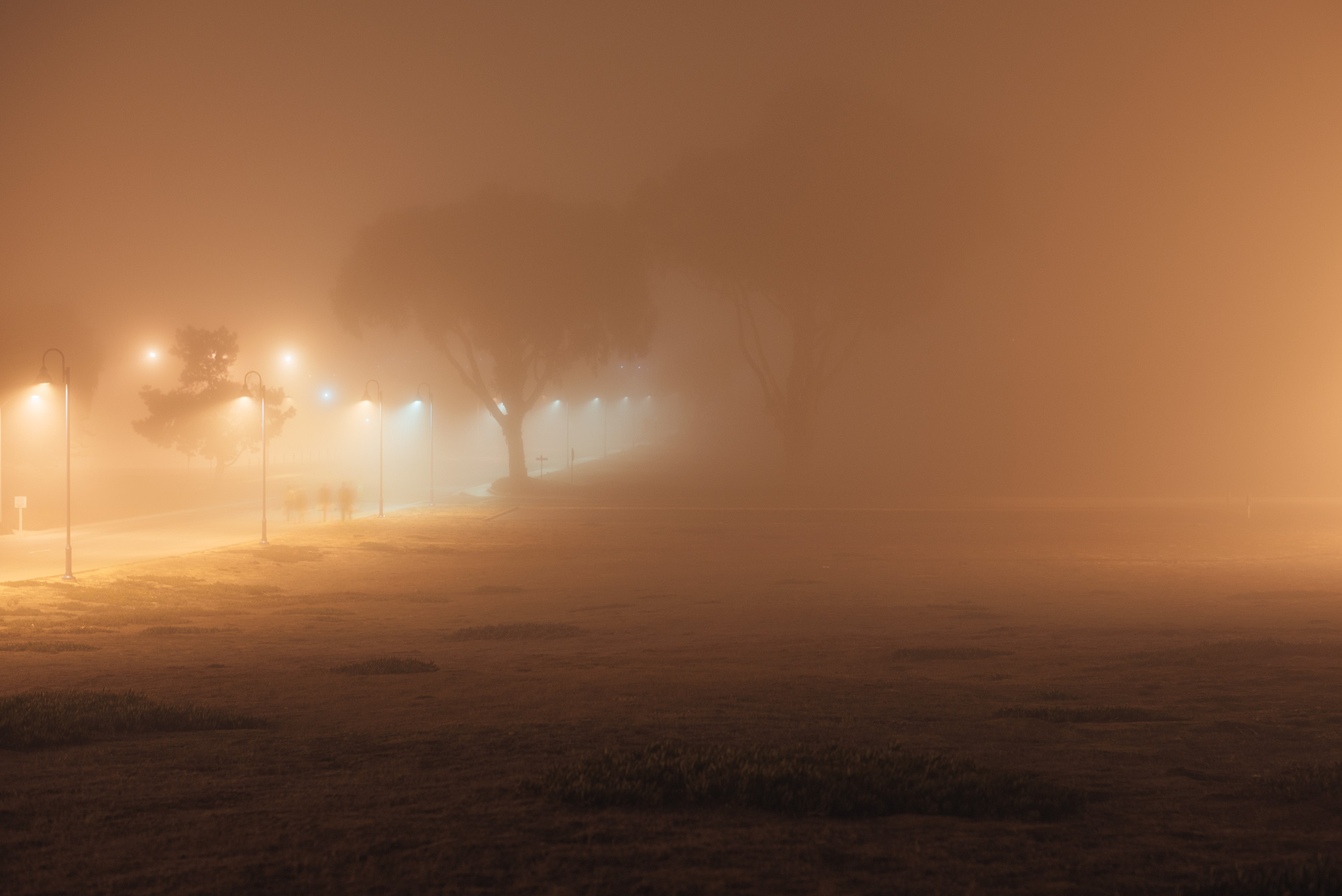 Fog at night with people.