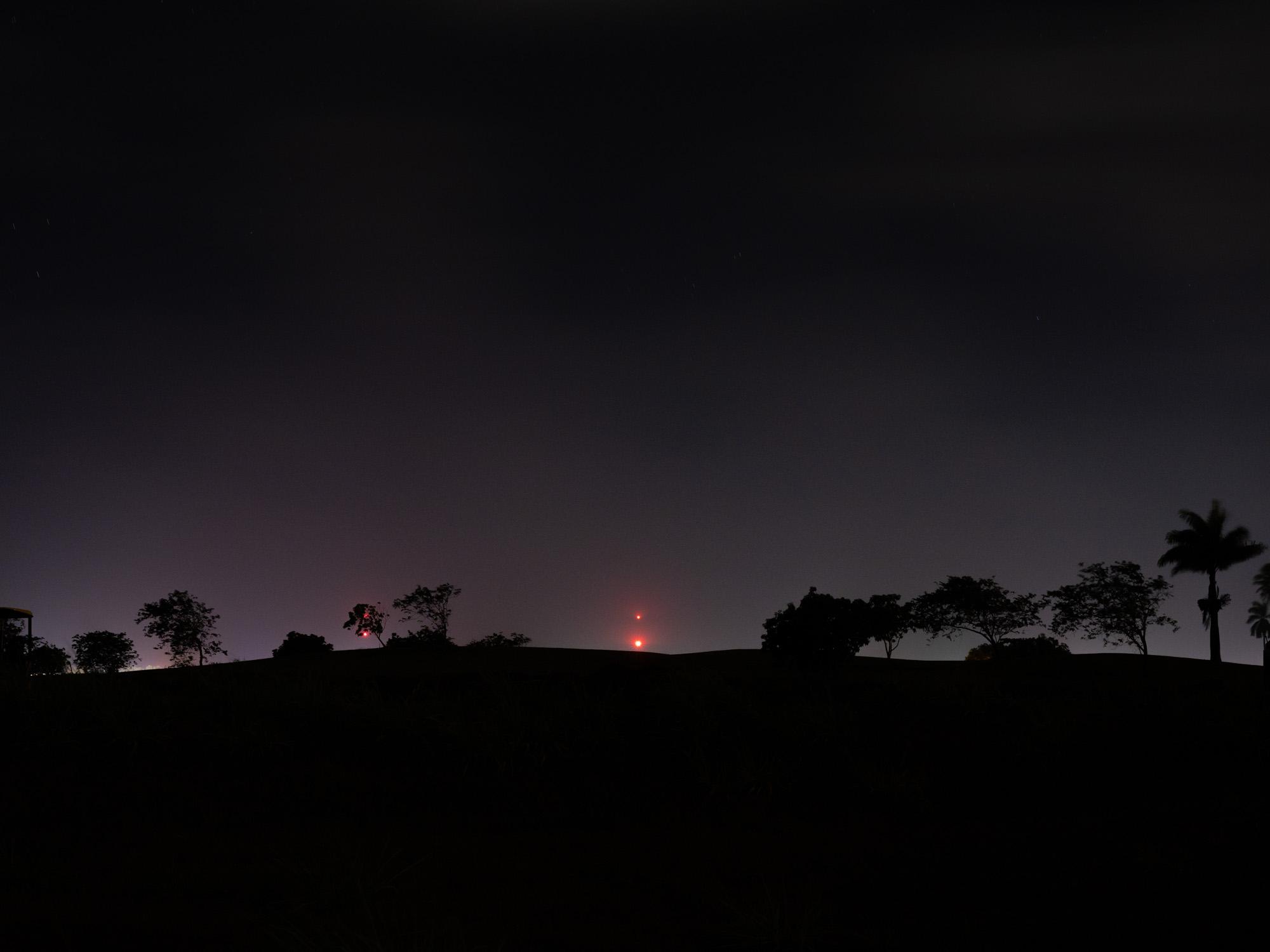 Nighttime image of landscape.